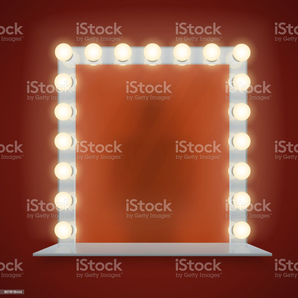 Mirror in bulbs frame with makeup table vector illustration vector art illustration