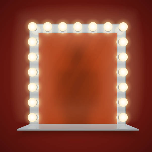 Mirror in bulbs frame with makeup table vector illustration Mirror in bulbs frame with makeup table for dressing room or backstage, vector illustration bathroom borders stock illustrations