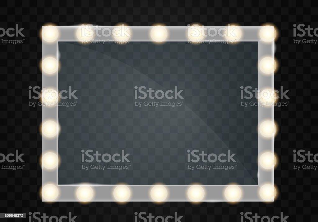 Ilustración de Espejo En Marco Con Maquillaje Luz Luces Para El ...
