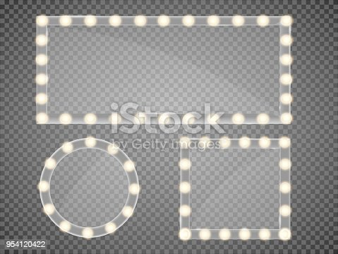 Mirror in frame with light makeup lights for changing room or backroom, on transparent background vector illustration