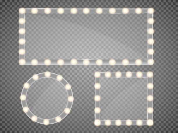 illustrations, cliparts, dessins animés et icônes de miroir dans un cadre avec le maquillage lumineux s'allume pour changer de chambre ou backroom, sur l'illustration vectorielle fond transparent - abstract mirror