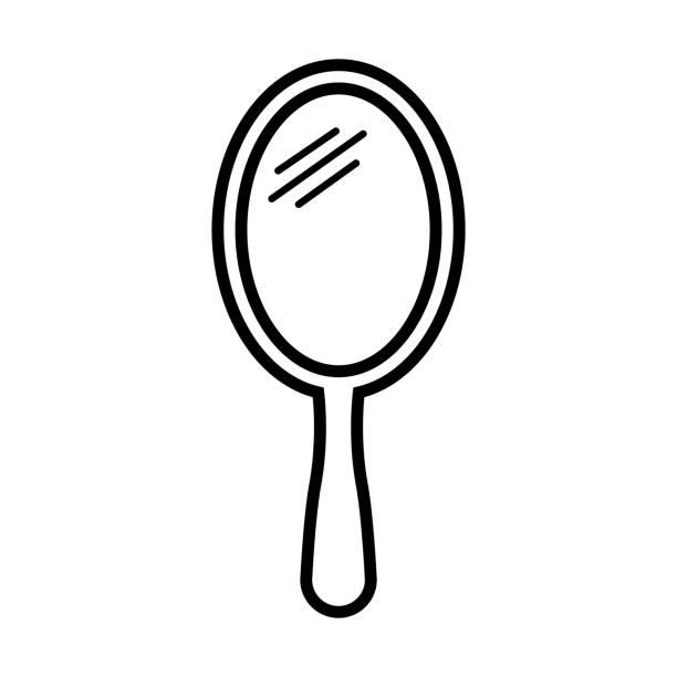 illustrations, cliparts, dessins animés et icônes de icône de ligne de miroir d'isolement sur le fond blanc - abstract mirror