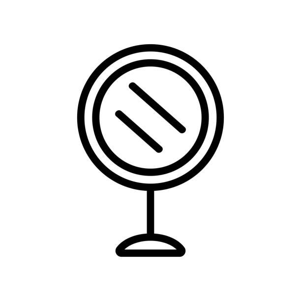 illustrations, cliparts, dessins animés et icônes de miroir sur le vecteur d'icône de stand. illustration d'illustration isolée de symbole de contour - abstract mirror