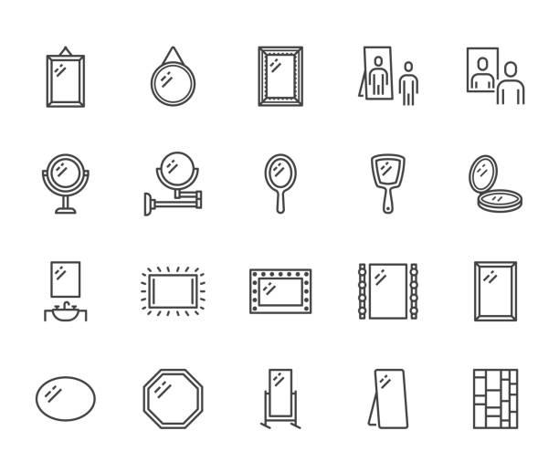 illustrations, cliparts, dessins animés et icônes de miroir, reflet des icônes de ligne plate ensemble. divers miroirs - rond, maquillage, pleine longueur, illustrations de vecteur intérieur de salle de bains. indiquez les panneaux pour le magasin de meubles. pixel parfait 64x64. coups modifiables - miroir