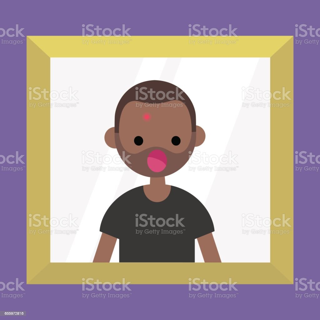Mirror reflection of a shocked black man. Dermatological problems. Acne / flat editable vector illustration, clip art vector art illustration