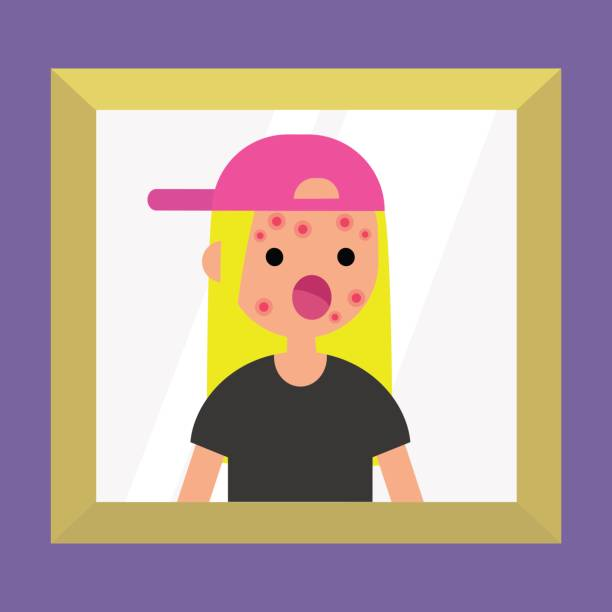 Mirror reflection of a shocked blond girl. Dermatological problems. Acne / flat editable vector illustration, clip art vector art illustration