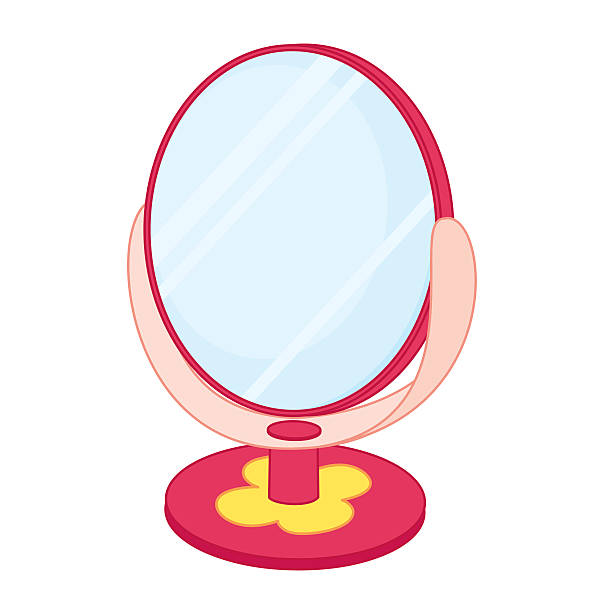 Royalty Free Public Restroom Mirror Clip Art Vector: Royalty Free Beautiful Girl Looking At Her Reflection In