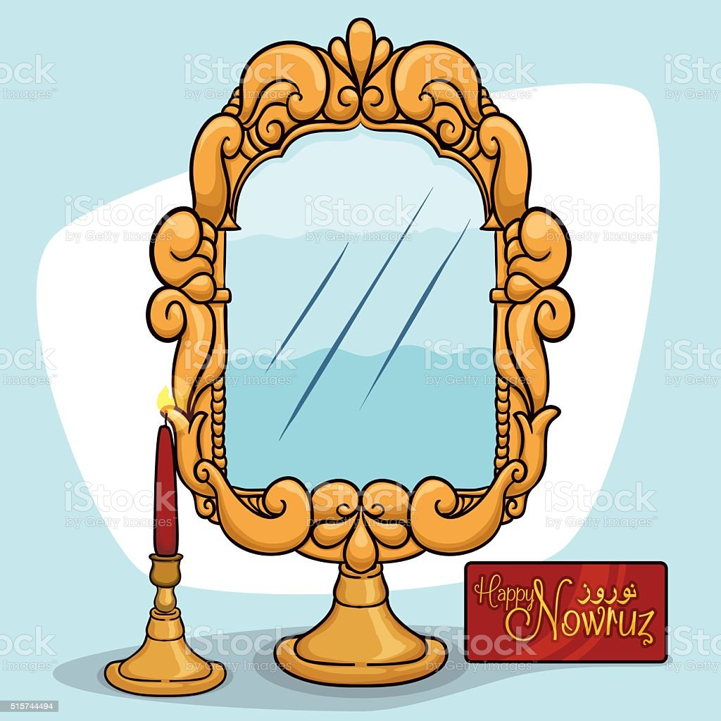 Mirror With A Candlelight And A Greeting Card For Nowruz Stock