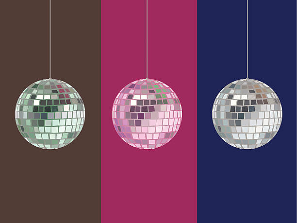 ilustrações, clipart, desenhos animados e ícones de bola de espelhos vetor com as opções de cor - baile de graduação