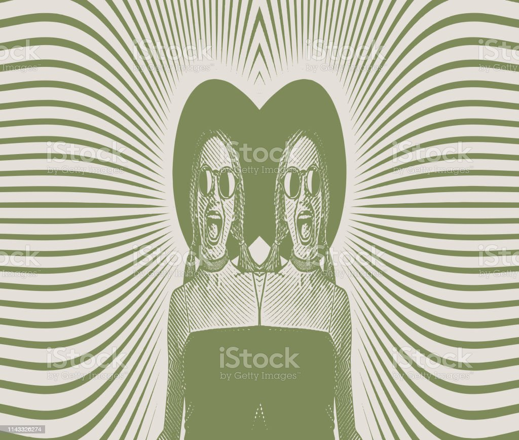 Mirrored image of a Cheerful identical twins vector art illustration