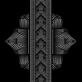 Mirrored pattern vector element with seamless ribbon Looks like a futuristic metal flower.