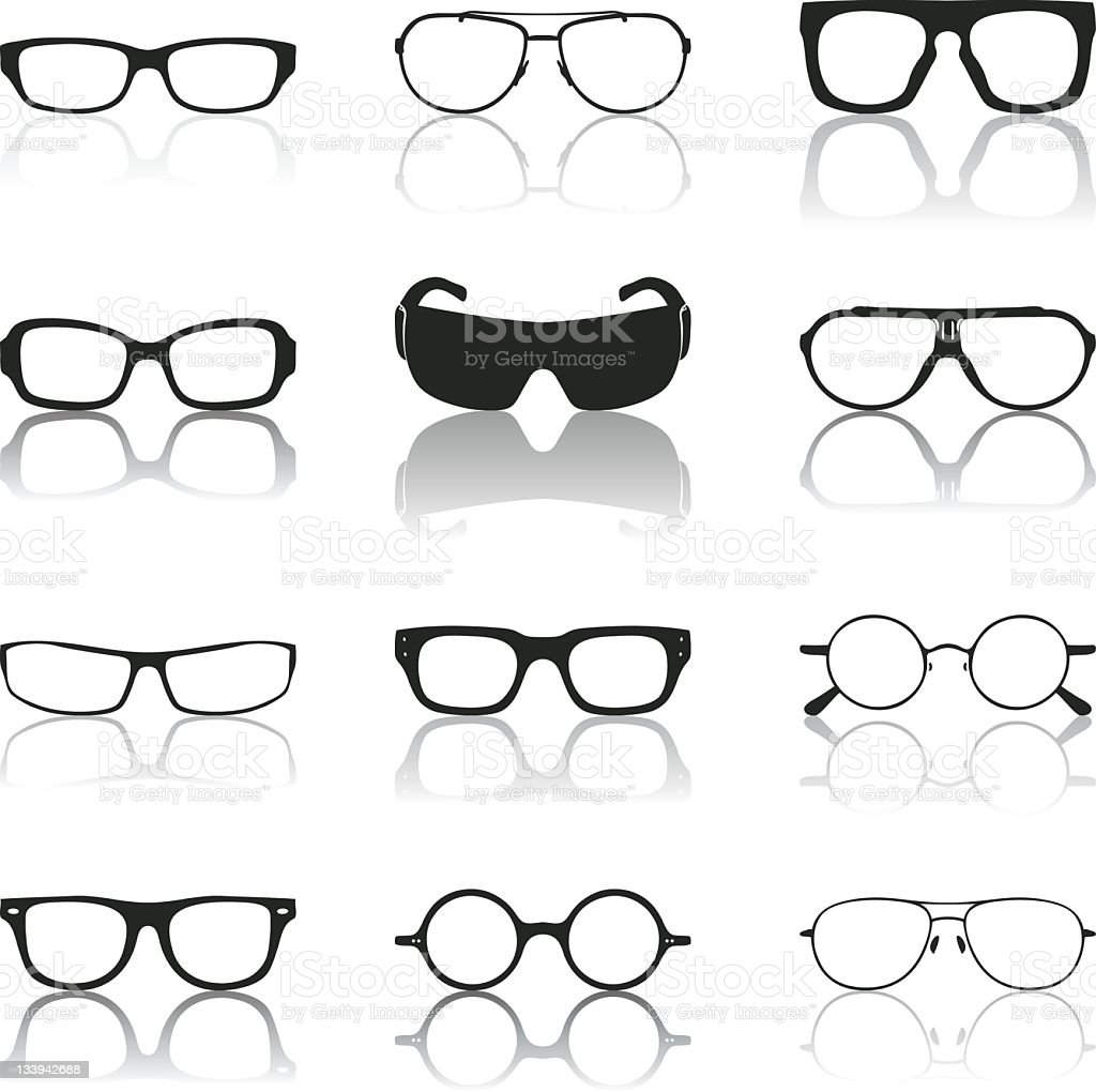 Mirrored sunglasses icon options on plain white background royalty-free stock vector art