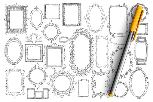 Mirrors and frames doodle set