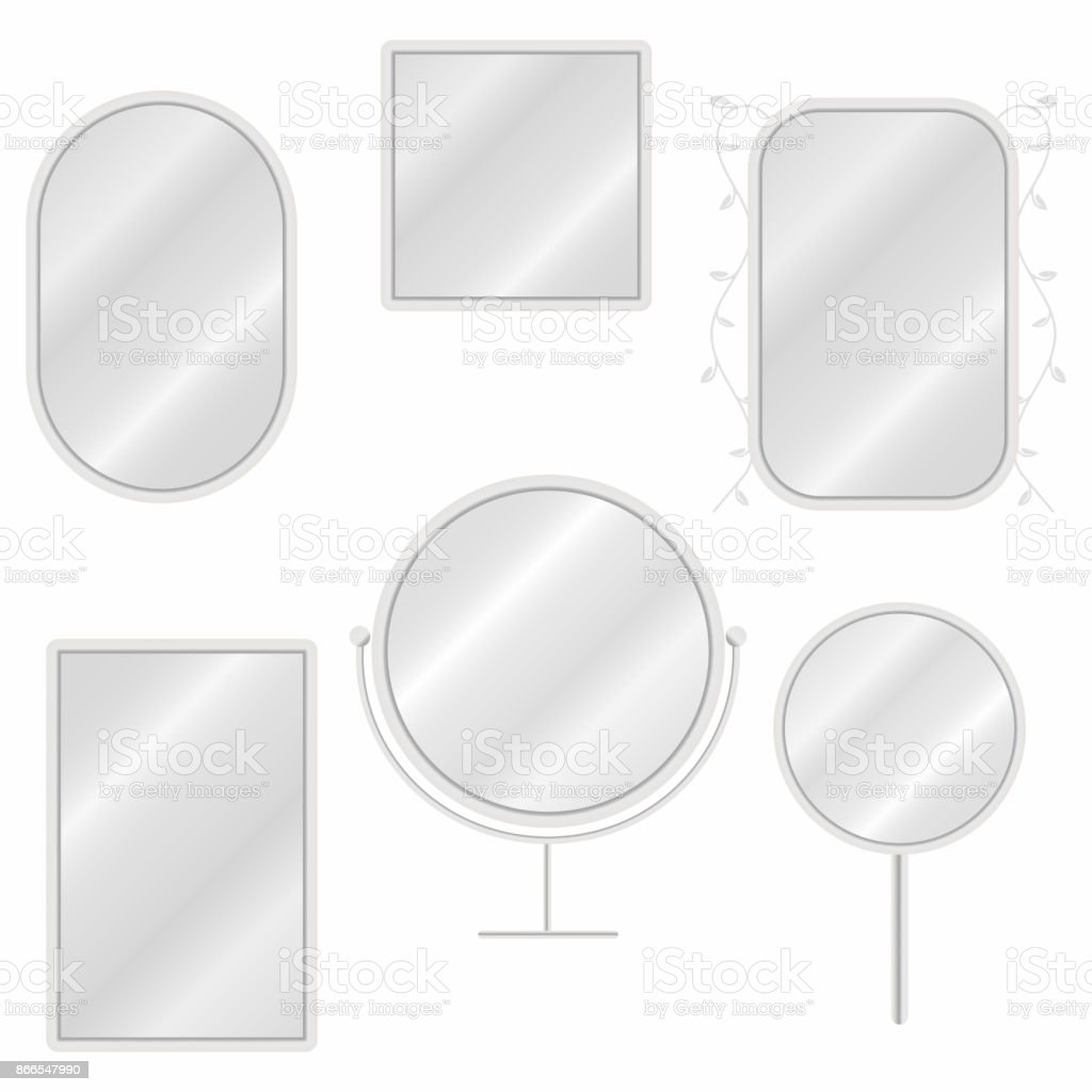 Mirrors set in different forms with blurry reflection. Vintage and modern mirrors royalty-free mirrors set in different forms with blurry reflection vintage and modern mirrors stock illustration - download image now