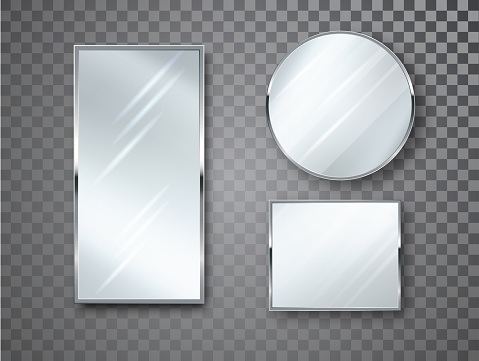 Mirrors set isolated with blurry reflection. Mirror frames or mirror decor interior vector realistic illustration