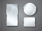 Mirrors set isolated with blurry reflection. Mirror frames or mirror decor interior vector realistic illustration.