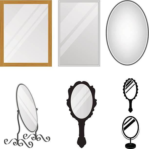 stockillustraties, clipart, cartoons en iconen met mirrors - handspiegel