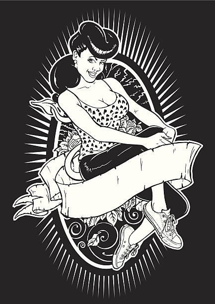Mis Behavin' Hand Drawn, traced, scanned, streamlined, vectorised pin up girl stock illustrations