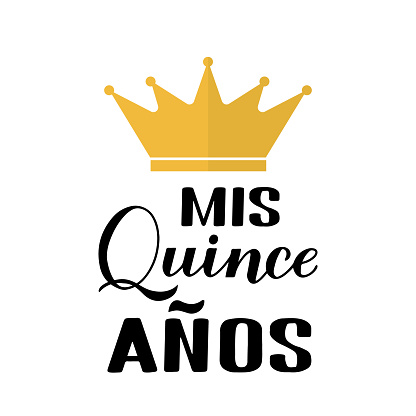 Mis Quince Anos (my 15th birthday in Spanish) hand lettering with gold crown isolated on white. Latin American girl Quinceañera poster. Vector template for party invitation, greeting card, banner.