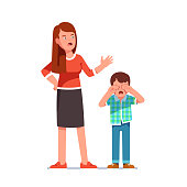 Misbehaving boy crying rubbing eyes with hands. Mother standing over and scolding at him. Flat isolated vector