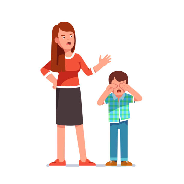 Misbehaving boy crying rubbing eyes with hands. Mother standing over and scolding at him. Flat isolated vector Mother reprimanding disobedient child. Kid crying rubbing eyes with hands. Woman standing over and scolding misbehaving bawling boy screaming at him. Flat style isolated vector illustration punishment stock illustrations
