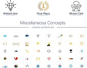 Miscellaneous Concepts creative symbols set. Idea bulb, awards, education, healthcare abstract business concepts. Book, food, cafe, cook icons