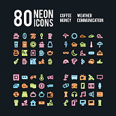 Miscellaneous neon icons of beverages weather business and communications, vector design
