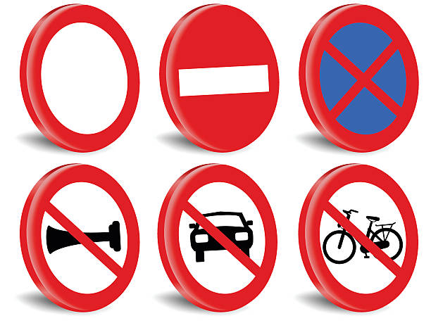 Miscellaneous prohibited traffic signs. vector art illustration