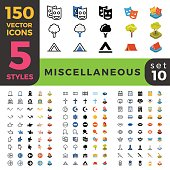 Miscellaneous web mobile UI vector icon set in Linear outline flat isometric styles. Five types software and website symbols of 2d and 3d objects. App user interface elements collection.