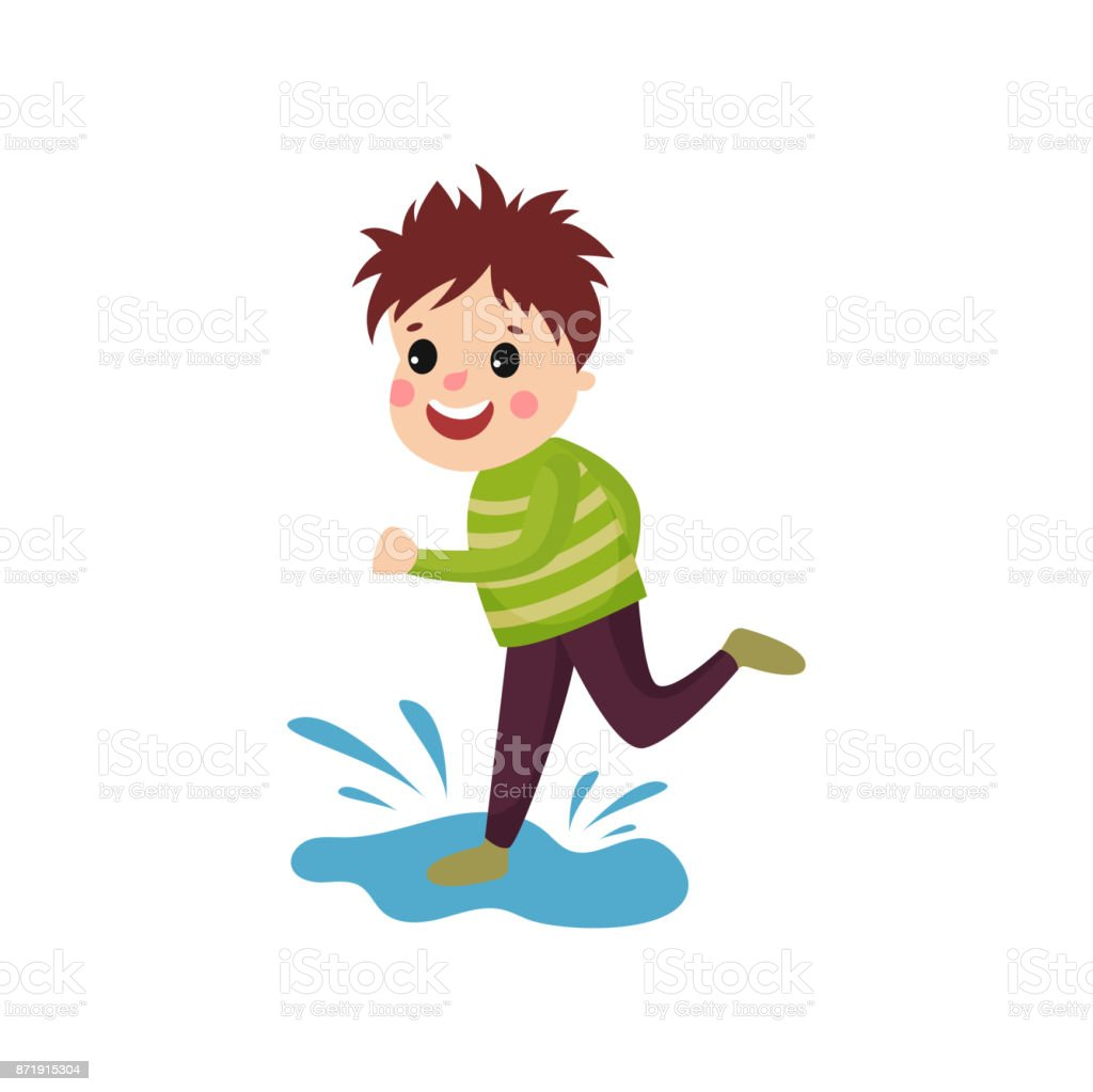 Mischievous Little Boy Jumping On Puddle Cartoon Character Of Naughty Boy Stock Vector ...