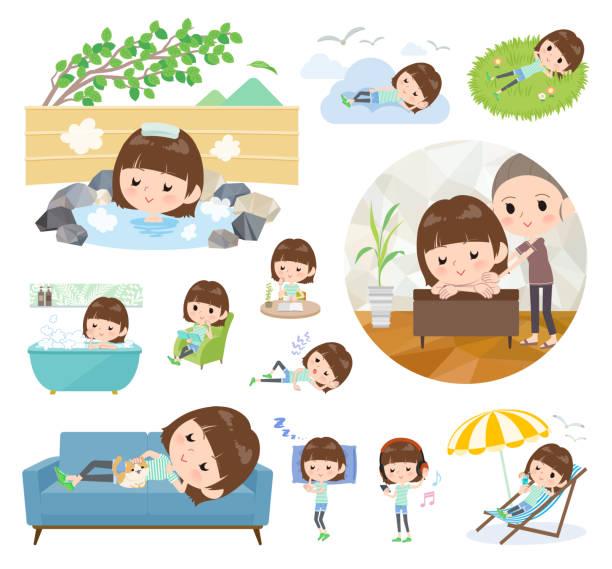 bildbanksillustrationer, clip art samt tecknat material och ikoner med busig ung women_relax - japanese bath woman
