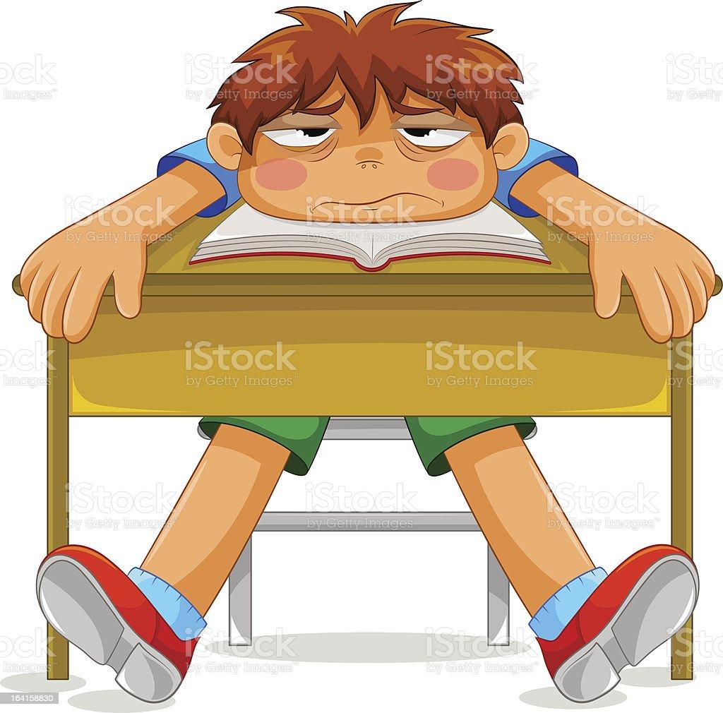 miserable student vector art illustration
