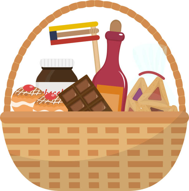 Royalty free gift basket clip art vector images