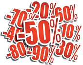 Mish-mash of red percentage discount labels