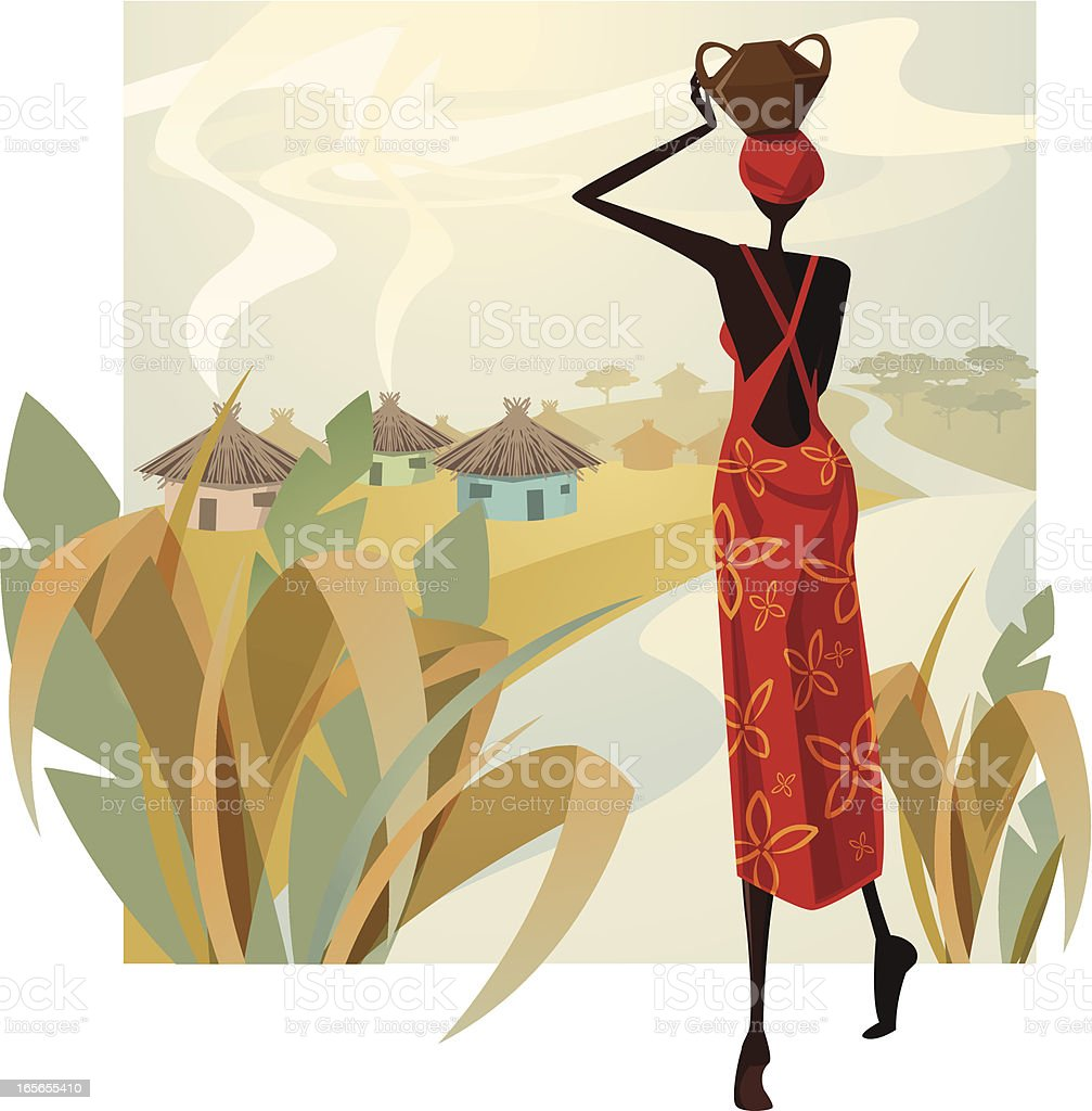 Miss Africa vector art illustration