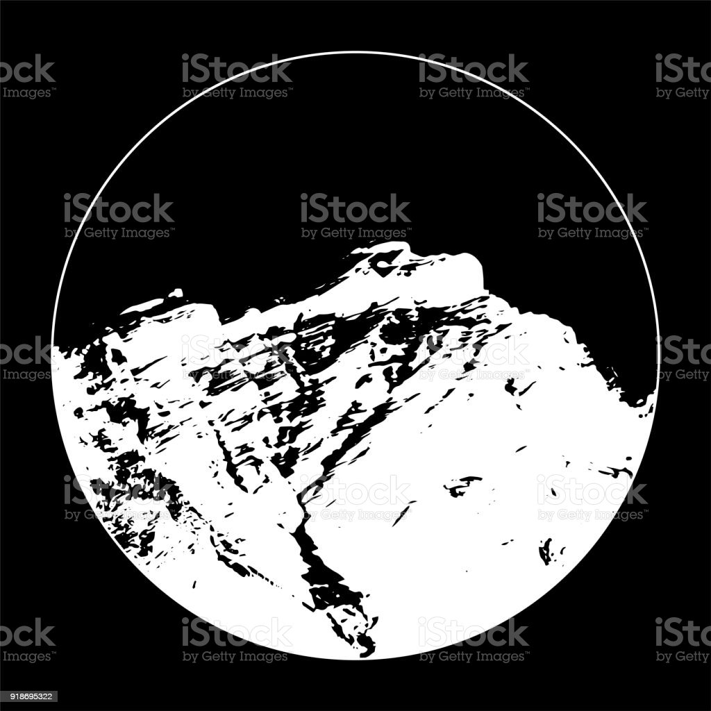 Miss Cascade Mountain In A Circle On Black Background vector art illustration