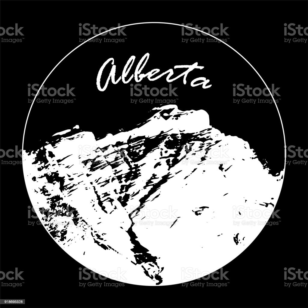 Miss Cascade Mountain In A Circle With 'Alberta' Text On Black Background vector art illustration