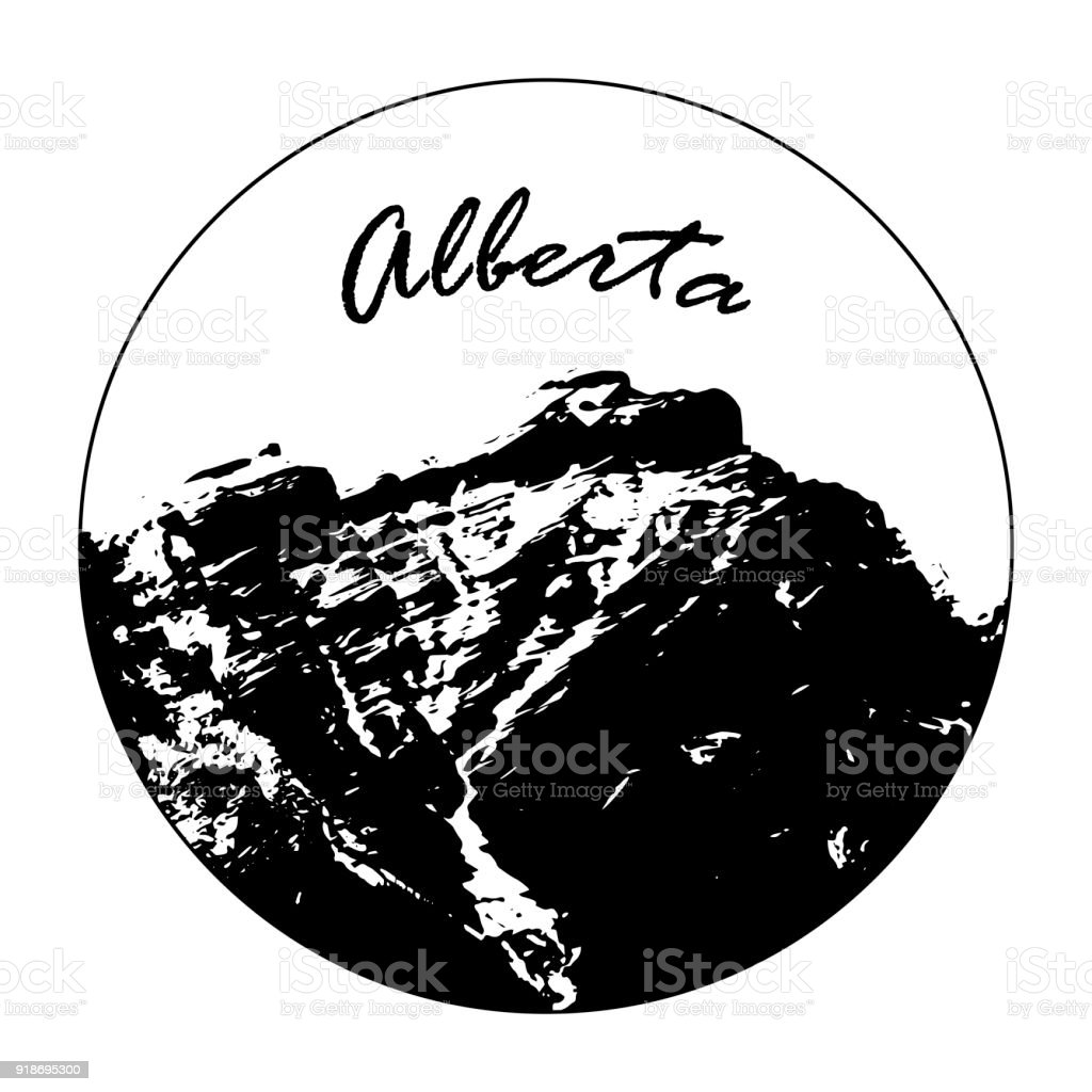 Miss Cascade Mountain In A Circle With 'Alberta' Text vector art illustration