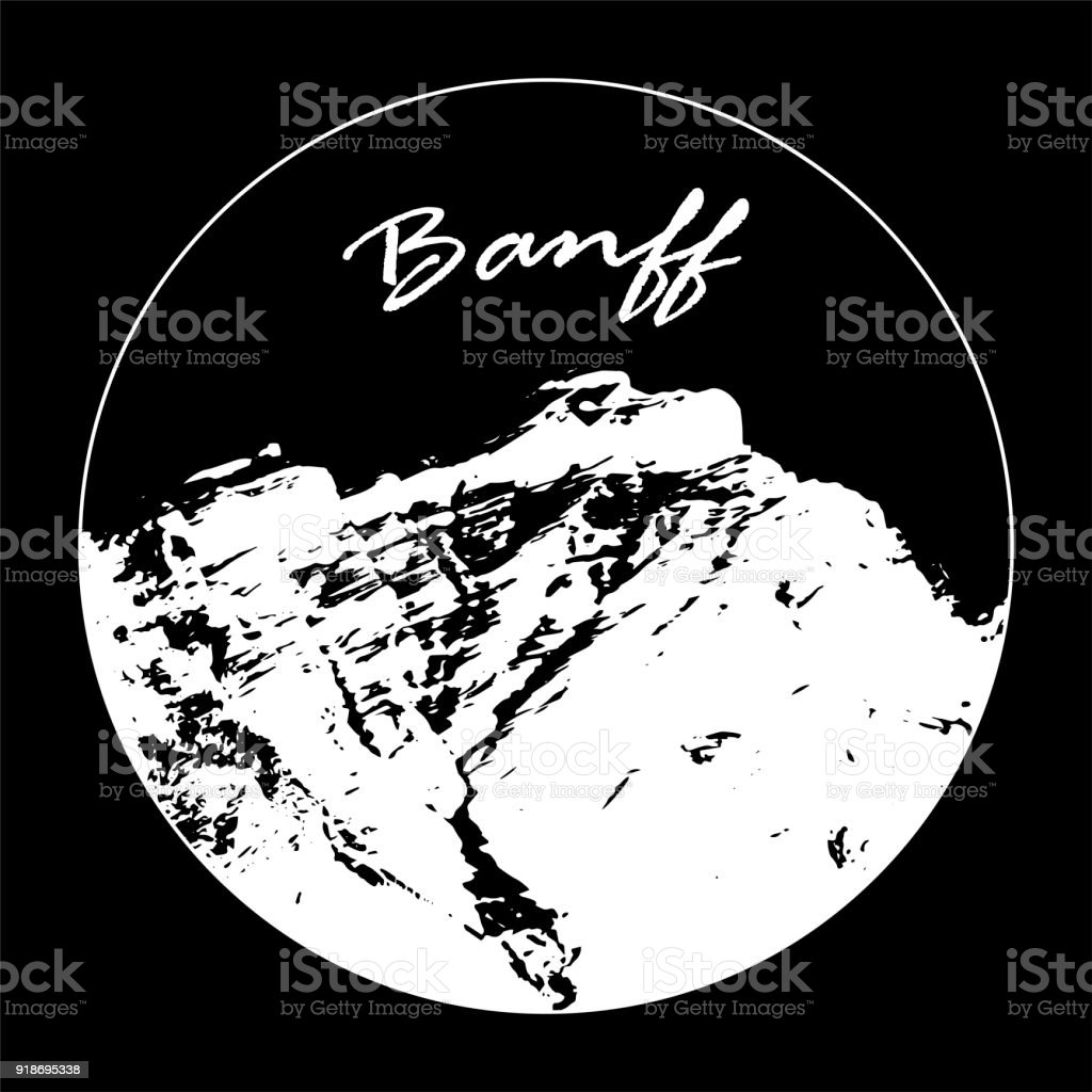 Miss Cascade Mountain In A Circle With 'Banff' Text On Black Background vector art illustration