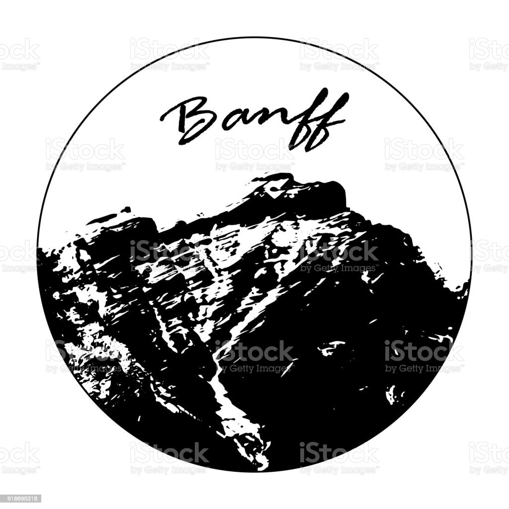 Miss Cascade Mountain In A Circle With 'Banff' Text vector art illustration