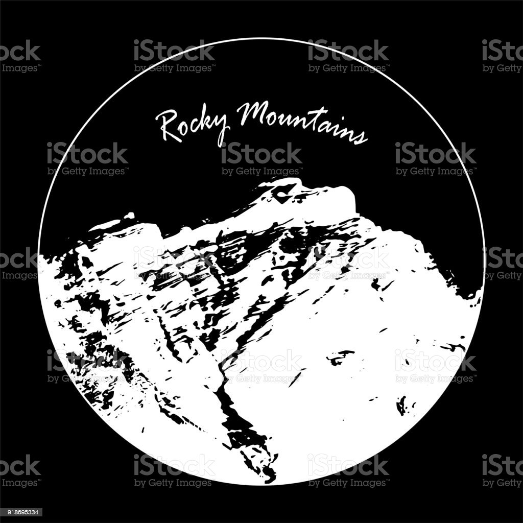 Miss Cascade Mountain In A Circle With 'Rocky Mountains' Text On Black Background vector art illustration