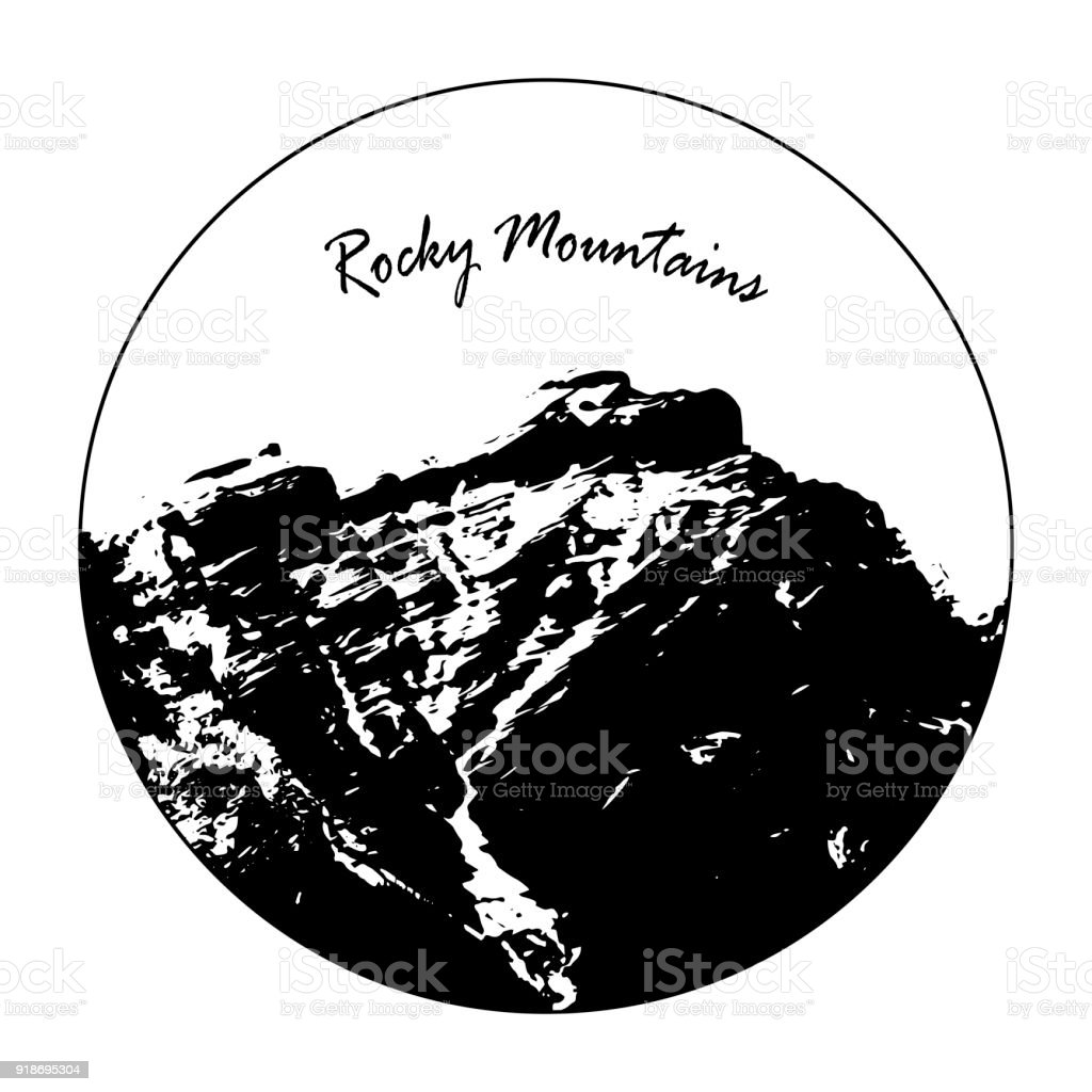 Miss Cascade Mountain In A Circle With 'Rocky Mountains' Text vector art illustration