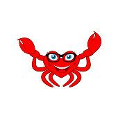 miss crab cartoon clipart icon vector
