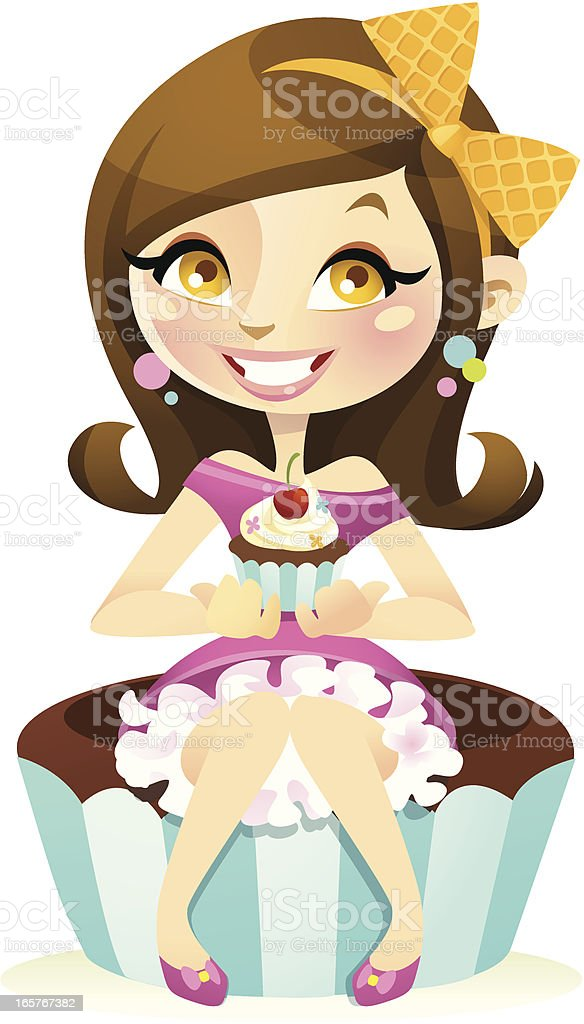 Miss Cupcake royalty-free stock vector art