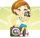 Vector illustration of a cute  female photography lover, not only holding a camera, but also seating on one. This charming characters is great for any photography related theme or blogs. . The hair/eye colour can be edited in Adobe Illustrator easily. You can also contact me, see if I'm available to help.