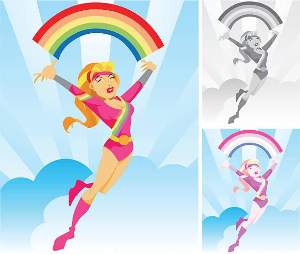 miss rainbow superhero character - byteandpixel stock illustrations