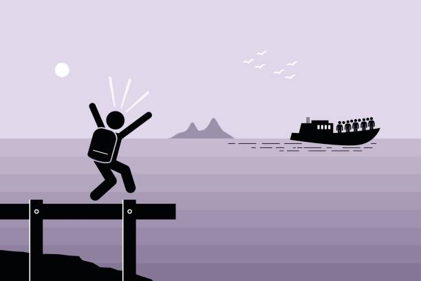 Miss the Boat. Man failed to catch the boat which has already sailed away. Vector artwork depicts late, slow, laggard, and left behind. lost stock illustrations