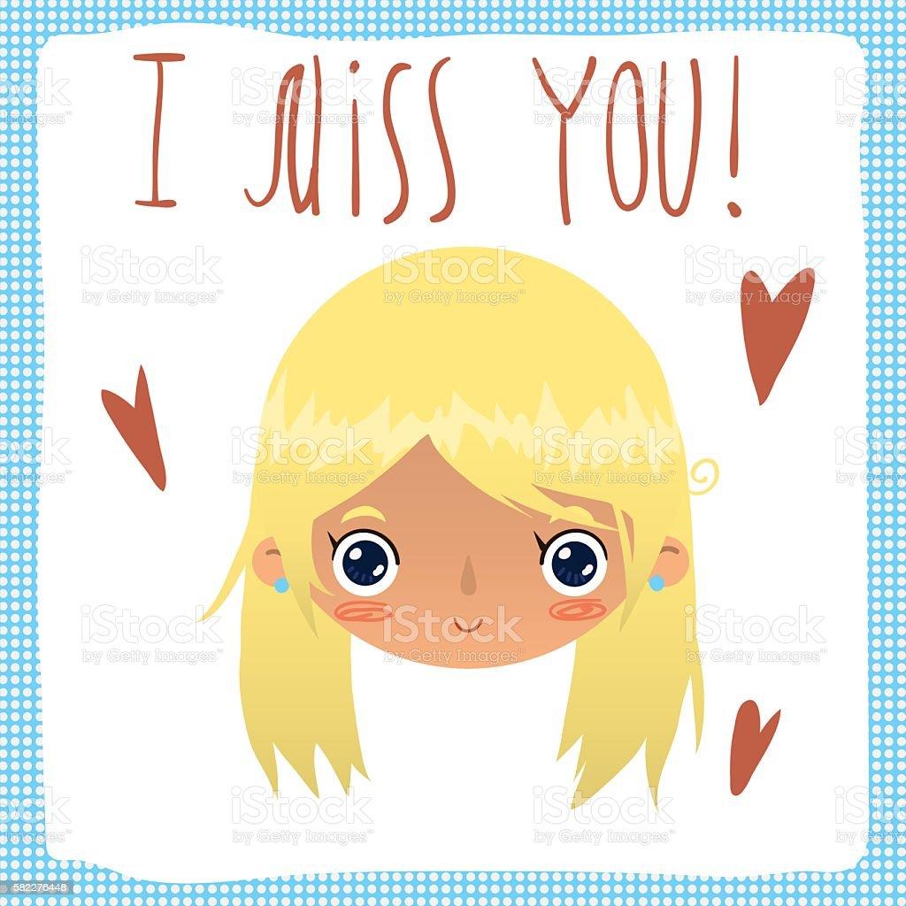 I miss you flat greeting card. vector art illustration