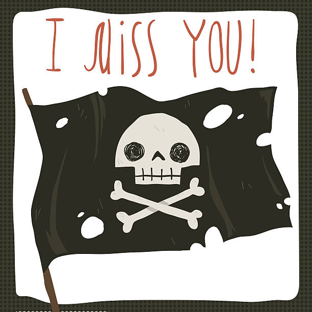 I miss you funny halloween card. vector art illustration