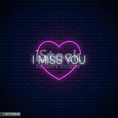 Miss you glowing neon sign with pink heart symbol on dark brick wall background. Symbol of loneliness in neon style. Vector illustration.